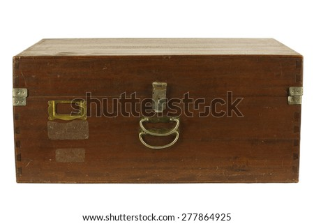 An old antique rustic wooden box Positive. Could be used as a treasure chest. with Clipping Path - stock photo
