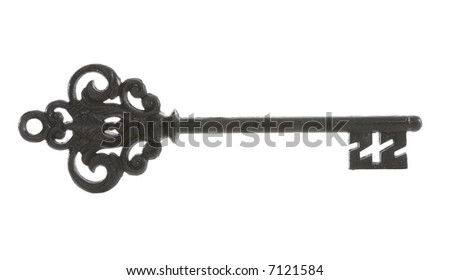 An old antique wrought iron key (Naturally Rough, Jagged Edges) - stock photo