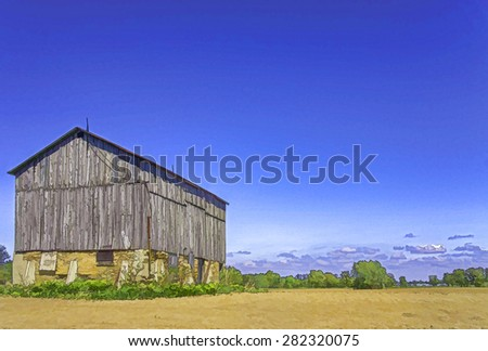 An old barn, retouched in PS for a cartooned and painted look. The barn is still in use for storage of hay. Photo taken in Kerwood, Ontario, Canada in May 2015. - stock photo