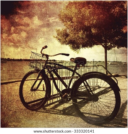 An old bicycle in a park on the bay in Sarasota, Florida - stock photo