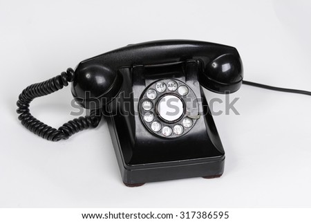 An old black telephone.