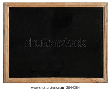An old blackboard with a wooden frame, isolated on a white background.