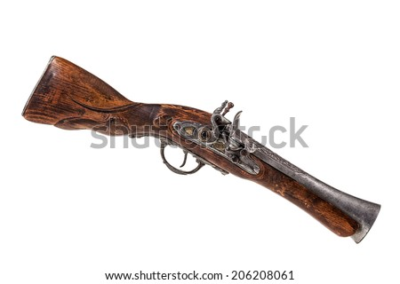 an old blunderbuss isolated over a white background
