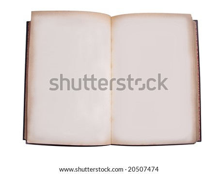 an old book opened showing blank pages - stock photo