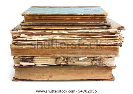 An old book with a crumpled sheet and hardcover isolated on white background
