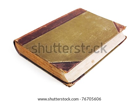 An old book with a crumpled sheet and hardcover isolated on white background - stock photo