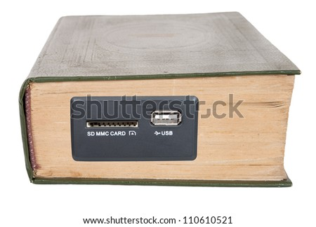 An old book with a USB input - stock photo
