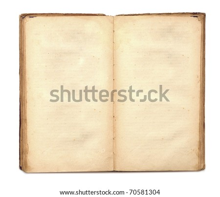 an old book with blank yellow stained pages on white