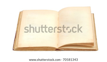 an old book with blank yellow stained pages on white - stock photo