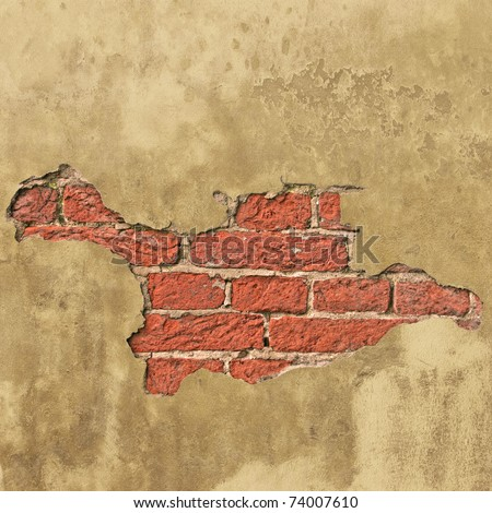 An Old Brick Wall with Plaster - stock photo