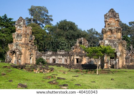 An old buddhist temple at the Angkor Thom complex in Cambodia.