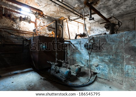 an old building's basement boiler room, detail