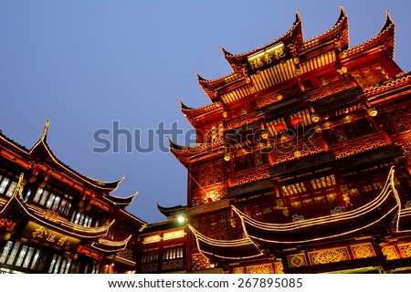 An old buildings in Yuyuan Tourist Mart in Shanghai, China. - stock photo