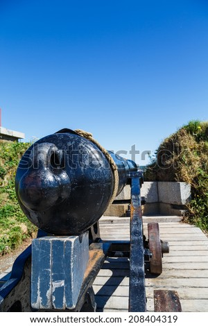 An old cannon in a fort in Halifax, Nova Scotia - stock photo