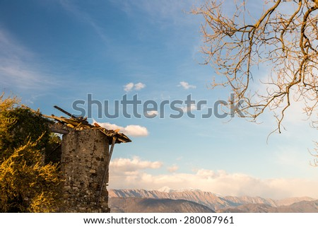 an old castle in the italian countryside - stock photo