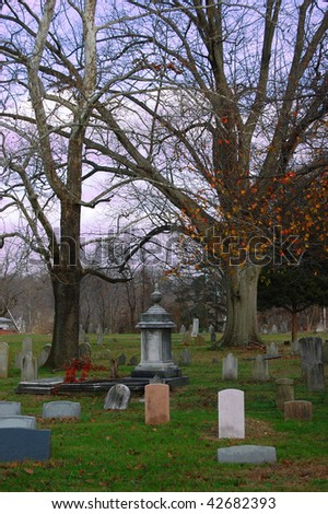 An old cemetery with blank gravestones - stock photo