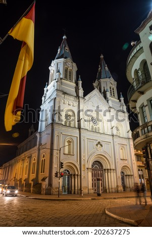 An old church in downtown Cuenca, Ecuador - stock photo