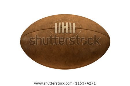 An old classic leather rugby ball with laces and stitching on an isolated background - stock photo