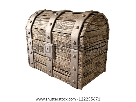 An old classic wood and iron closed treasure chest with a metal lock on an isolated background - stock photo