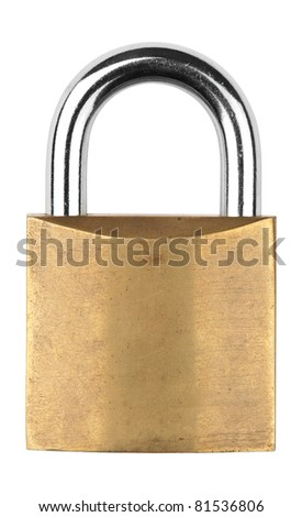 An old closed metal padlock against white background - stock photo