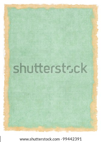 An old cloth book cover with vintage colors and a stained watercolor border. - stock photo