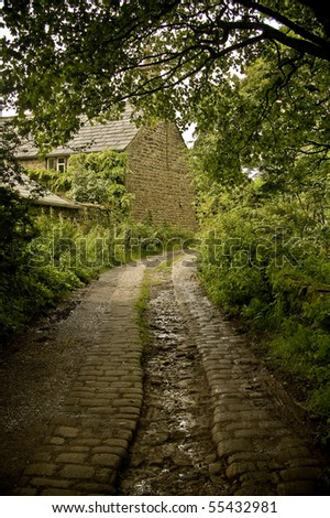 An old cobbled road leading to a small cottage. - stock photo