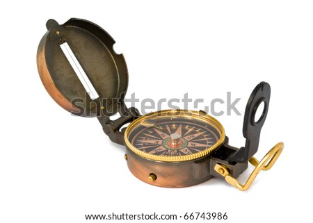 an old compass isolated on white background - stock photo