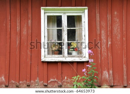 An old cottage window. This is typical Swedish style.