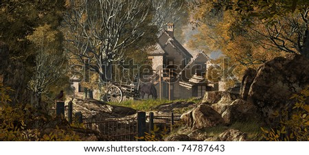An old country farm house with cart, set in a fall woodland scene. - stock photo