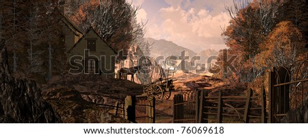 An old country farm house with horse and cart, set in a fall woodland scene. - stock photo
