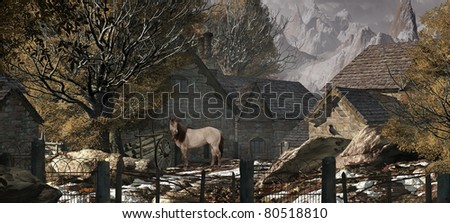 An old country farm scene in the Swiss Alps with horse and cart. - stock photo