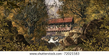 An old covered bridge in the countryside in the fall season.
