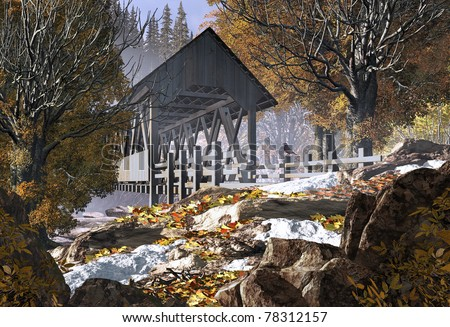 An old covered bridge in the fall season with patches of snow and a robin. - stock photo