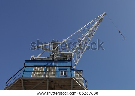 an old crane on the harbor of Bremerhaven, Germany - stock photo