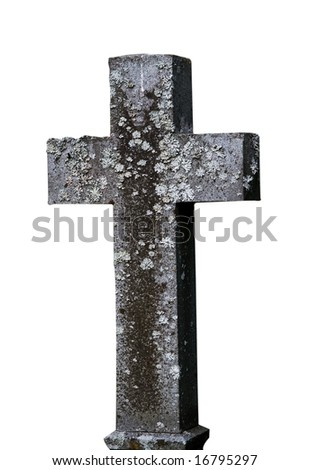 An old cross on a white background - stock photo