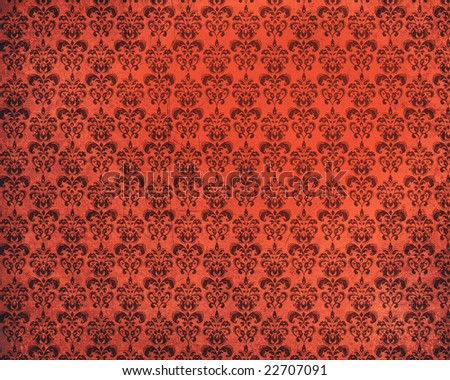 An old damask grunge red  background - stock photo