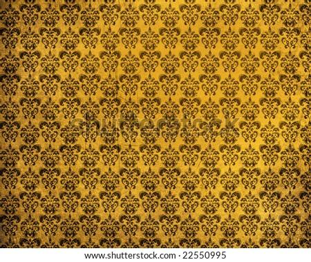 An old damask grunge yellow background - stock photo