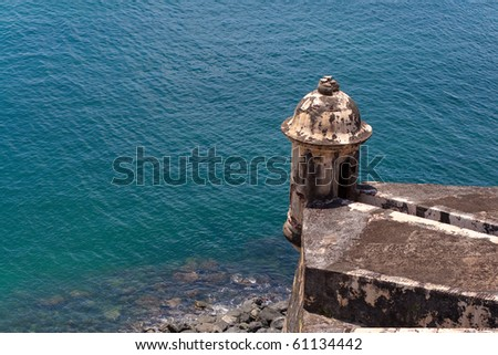 An old decaying tower of El Morro fort located in Old San Juan Puerto Rico. - stock photo