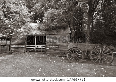 An old deserted farm in the south island, New Zealand. (BW) - stock photo