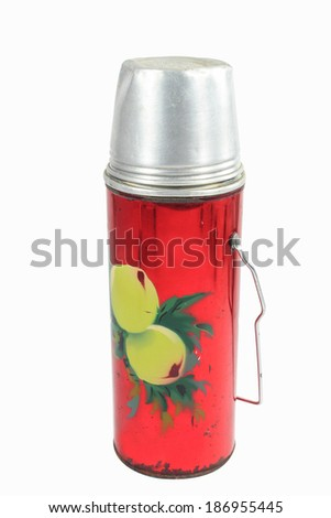 An old design thermo flask isolated on white - stock photo