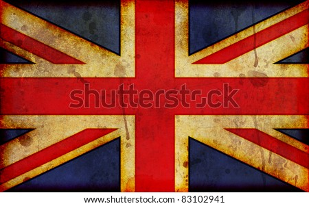 An old, dirty and stained grunge style illustration of the flag of Great Britain, the Union Jack - a wide-screen aspect ratio.