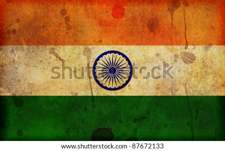 An old, dirty and stained grunge style illustration of the flag of the Republic of India - in a widescreen aspect ratio. - stock photo