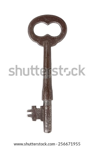 An old distressed nickel skeleton key with a flat bit and an infinity shaped bow. white background