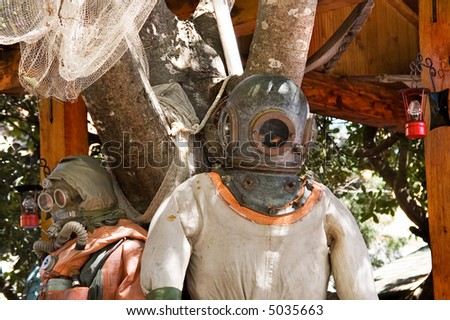 An old diver's suit - stock photo