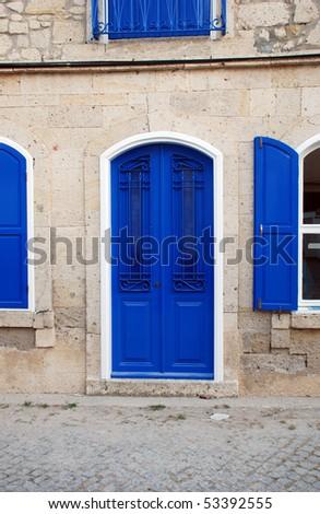 an old door in island - stock photo