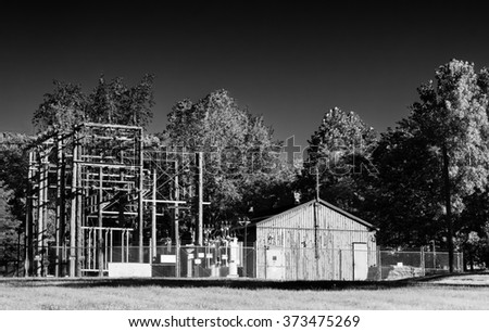 An old electrical substation, done in monochrome for a vintage effect