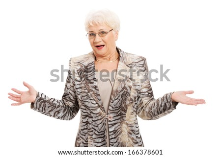 An old elegant lady having her hands spread. isolated on white.