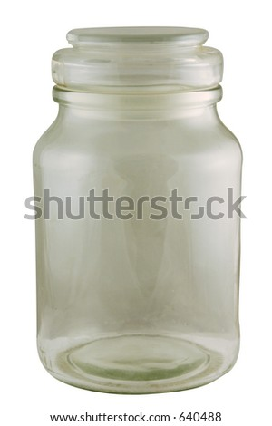 An old empty glass jar. Isolated with path. - stock photo
