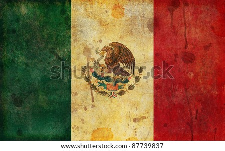 An old, faded, aged and worn Mexican flag in a grunge illustration style. - stock photo