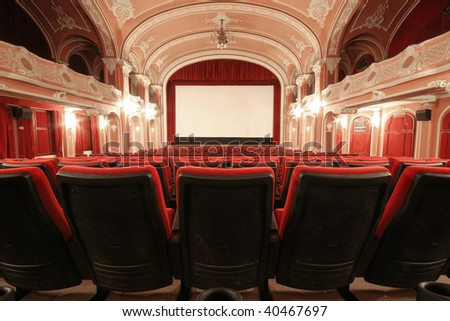 An old fashioned beautiful cinema in Miskolc, Hungary. - stock photo